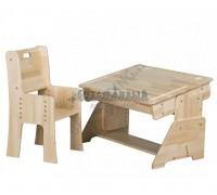 Растущая парта и стул - массив сосны