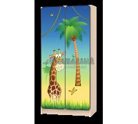 Шкаф детский «Джунгли-жираф» жёлто-синий