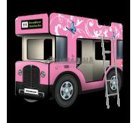 """Двухъярусная кровать-Автобус СлипинБас """"Бабочки"""" розовый"""