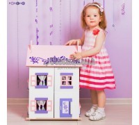 Деревянный кукольный домик - Анастасия с 15 предметами мебели