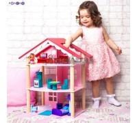 Трехэтажный домик для куклы - Роза Хутор с 14 предметами мебели