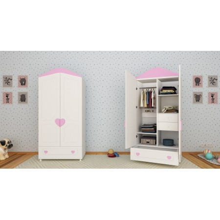 Детский шкаф двухстворчатый «Сердечко», Bambini Letto