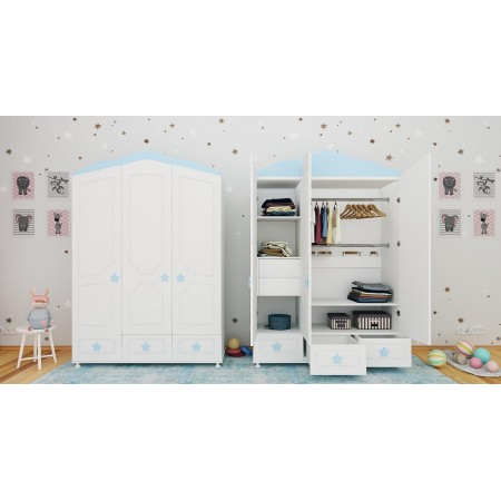 Детский шкаф трехстворчатый «Звёзды», Bambini Letto