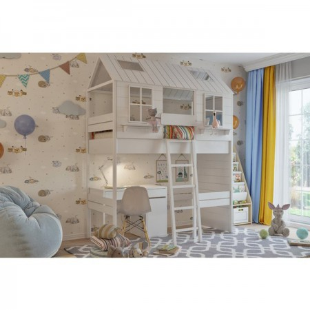 Кровать - домик Теремок с рабочей зоной, Bambini Letto