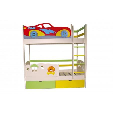 """Детская двухъярусная кровать """"Тачка со львёнком"""", Bambini Letto"""