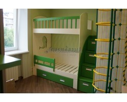Двухъярусная кровать с лестницей комодом