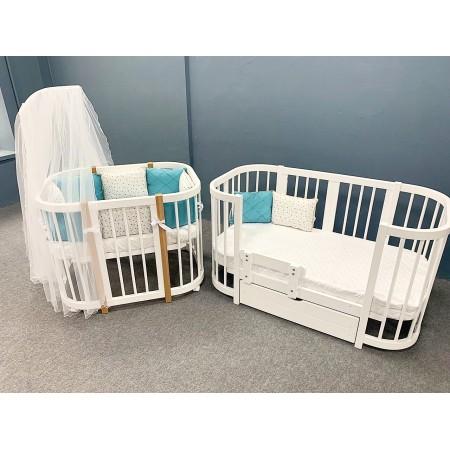 Кроватка для новорожденных Dreams Smart Бук Белая С натуральными Буковыми стойками под лак