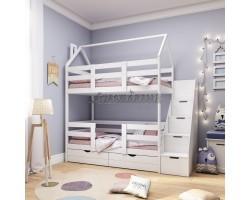 Двухъярусная кровать - домик Classic 160 х 80 с комодом