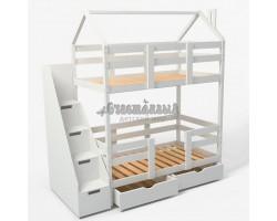 Двухъярусная кровать - домик Classic 180 х 90 с комодом
