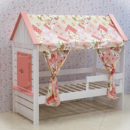 Кровать Домик Нежность Т+ с тканевой крышей, Bambini Letto