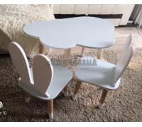 Детский комплект стол и 2 стула облако и уши зайца голубого цвета с носочками