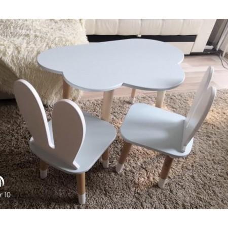 Детский комплект стол и 2 стула облако и уши зайца голубого цвета с носочками, Лесная Фея