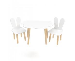 """Детский комплект стол """"Облако"""" и 2 стула """"Уши зайца"""" белый"""