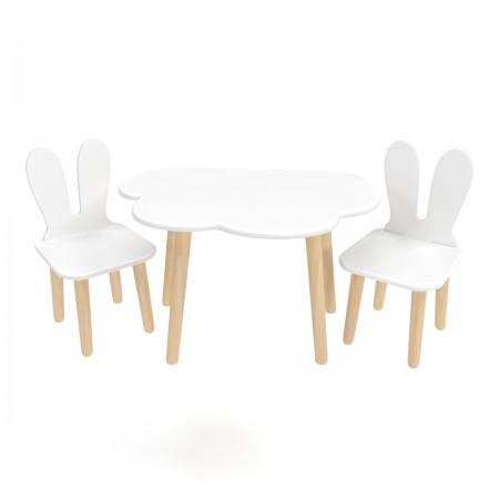 Детский комплект стол и 2 стула облако и уши зайца белого цвета , Лесная Фея