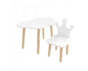 "Детский комплект стол ""Облако"" и стул ""Корона"" белый"