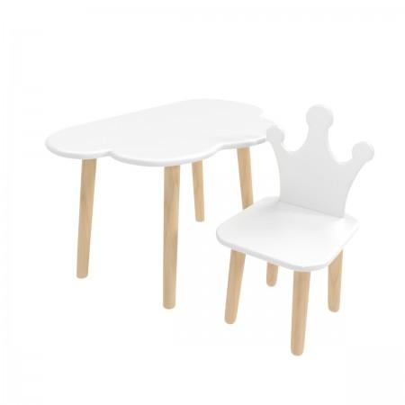Детский комплект стол и стул облако и корона белого цвета, Лесная Фея