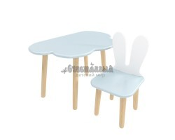 Детский комплект стол и стул облако и уши зайца голубого цвета