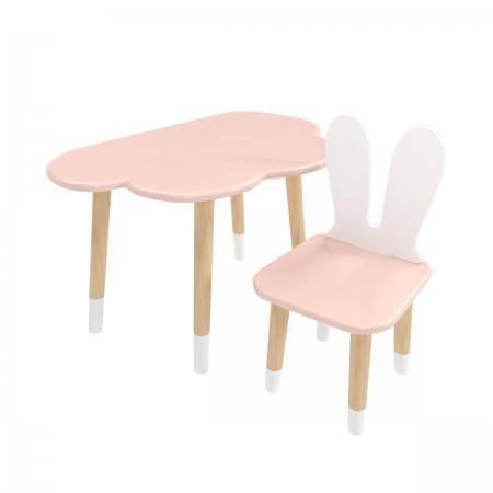 Детский комплект стол и стул облако и уши зайца розового цвета с носочками, Лесная Фея