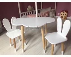 Детский комплект стол и 2 стула облако и уши зайца белого цвета с носочками