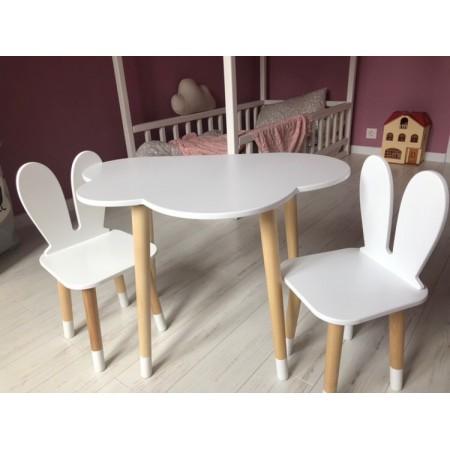 Детский комплект стол и 2 стула облако и уши зайца белого цвета с носочками, Лесная Фея