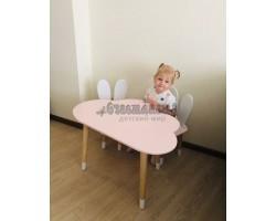 Детский комплект стол и 2 стула облако и уши зайца розового цвета с носочками