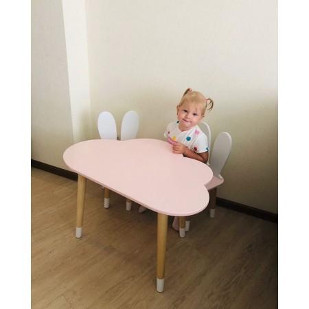 Детский комплект стол и 2 стула облако и уши зайца розового цвета с носочками, Лесная Фея
