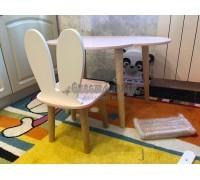 Детский комплект стол и стул облако и уши зайца розового цвета