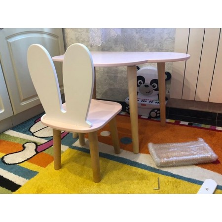 Детский комплект стол и стул облако и уши зайца розового цвета, Лесная Фея