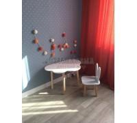 Детский комплект стол и стул облако и уши зайца белого цвета