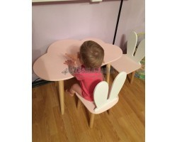 Детский комплект стол и 2 стула облако и уши зайца розового цвета