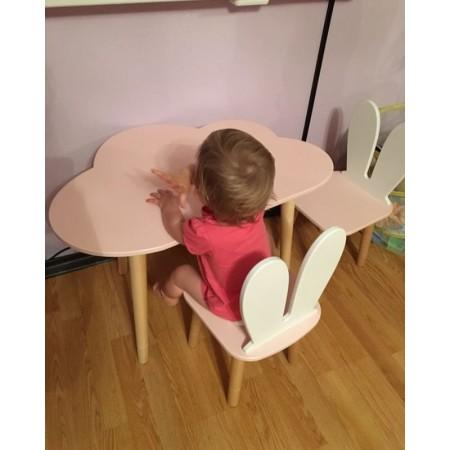 Детский комплект стол и 2 стула облако и уши зайца розового цвета, Лесная Фея