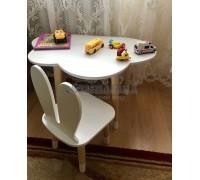 Детский комплект стол и стул облако и уши зайца белого цвета с носочками