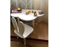 Набор стол облачко и стул зайка белого цвета с носочками