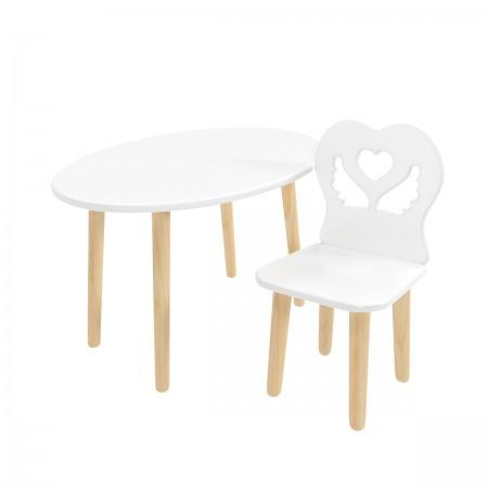 Детский комплект стол Овальный и стул Крылья с сердцем белый, Bambini Letto