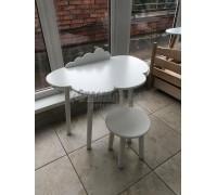 Детский комплект стол облако с бортиком-ограничителем и круглый стул белого цвета