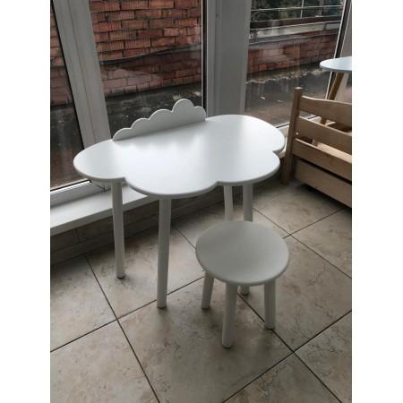 Детский комплект стол облако с бортиком-ограничителем и круглый стул белого цвета, Bambini Letto