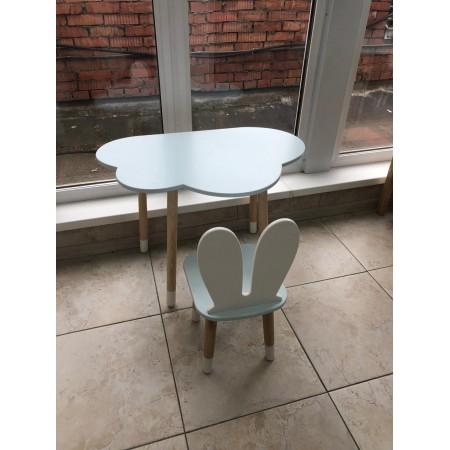 Детский комплект стол и стул облако и уши зайца голубого цвета с носочками, Лесная Фея