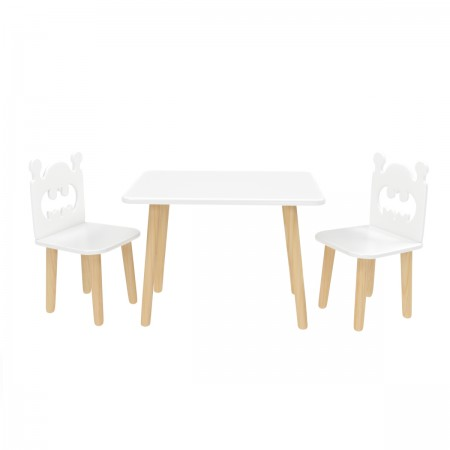 Детский комплект Прямоугольный стол и 2 стула Бэтмен белый, Bambini Letto
