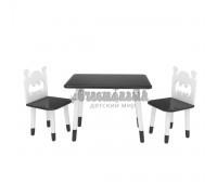 Детский комплект прямоугольный стол и 2 стула Бэтмен черного цвета с носочками
