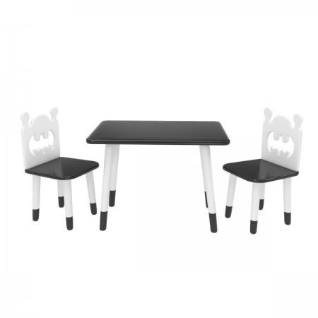 Детский комплект Прямоугольный стол и 2 стула Бэтмен черный, с носочками, Bambini Letto