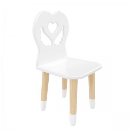 Детский стул крылья с сердцем белого цвета с носочками, Лесная Фея