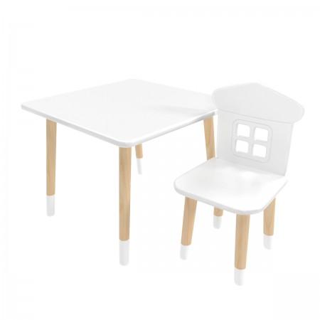 """Детский комплект стол """"Квадратный"""" и стул """"Домик"""" белый, с носочками, Bambini Letto"""