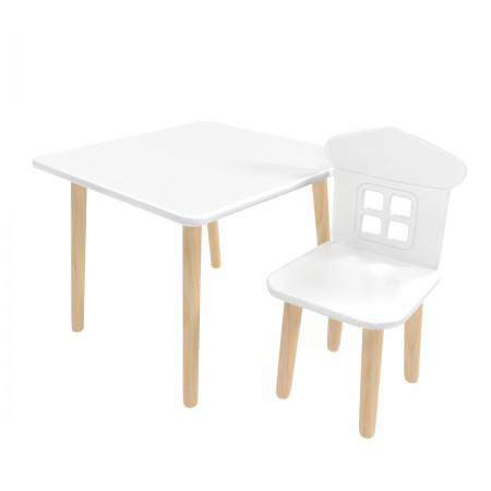 Детский комплект квадратный стол и стул домик белого цвета, Лесная Фея