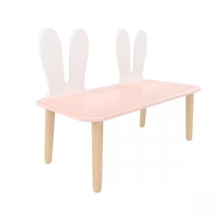Детская скамейка уши зайки розового цвета, Лесная Фея