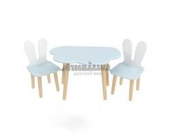 Детский комплект стол и 2 стула облако и уши зайца голубого цвета