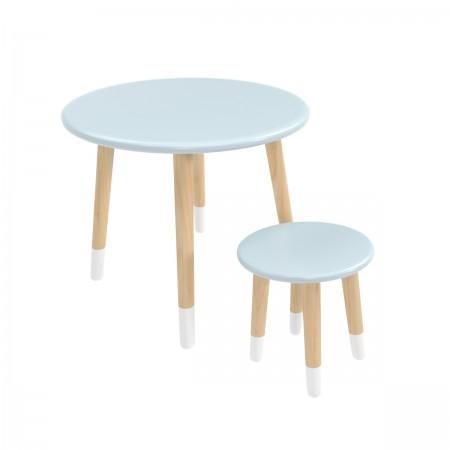 Детский комплект круглый стол и стул голубого цвета с носочками, Лесная Фея
