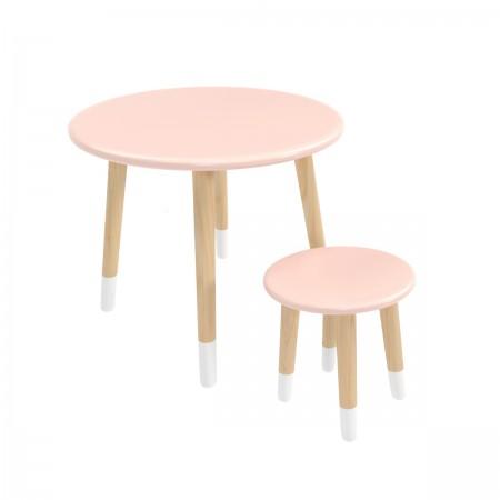 Детский комплект круглый стол и стул розового цвета с носочками, Лесная Фея