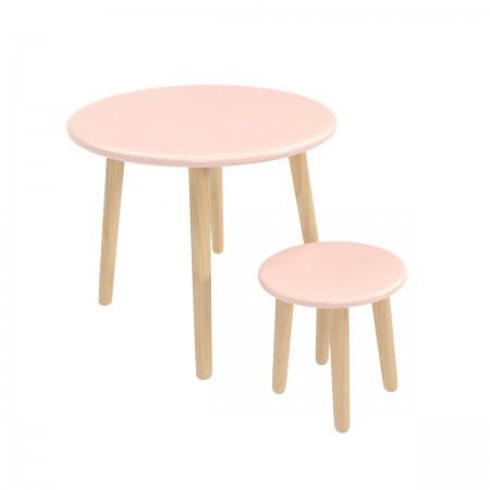 Детский комплект круглый стол и стул розового цвета, Лесная Фея