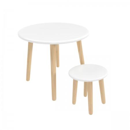 Детский комплект круглый стол и стул белого цвета, Лесная Фея