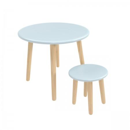 Детский комплект круглый стол и стул голубого цвета, Лесная Фея